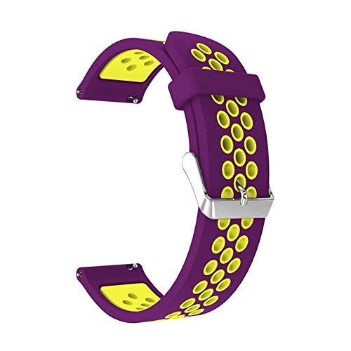 JWWLLT para Huami Amazfit GTS 2 & GTS2 Mini BIP U Pop GTR 42mm Correa Pulsera de Silicona 20 mm Reloj Reloj Reemplazo Reloj de Reloj Transpirable (Band Color : Purple Yellow)