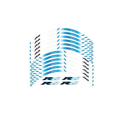 12 X grueso del borde del Borde Exterior pegatina raya Rueda Calcomanías FIT YAMAHA YZF R6 YZF1000 YZF-R6 pegatinas moto (Color : Blue2)