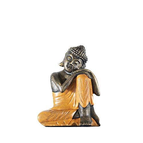 Edenjardi Figura de Buda descansando en Color Naranja | 30 cm de Alto