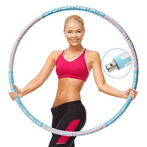 WellToBe Hula Hoop zur Gewichtsreduktion, Hula-Hoop-Reifen für Fitness, 6 Abschnitte des abnehmbaren Hula Hoop können das Gewicht anpassen, verstellbare Breite 66–88 cm für Erwachsene und Kinder