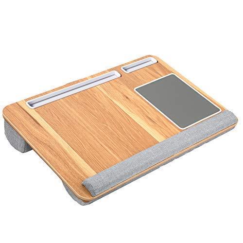 HUANUO Laptopunterlage für Bett mit Mausunterlage & Handgelenkauflage, Laptop Kissen für max. 17 Zoll Notebook, inkl. Tablet- und Telefonhalter