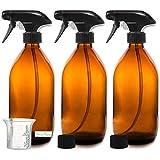 Nomara Organics sin BPA Vaporizador en Botella de Cristal Ámbar 3 x 500 mL. Con Gatillo / Recargable / Baño / Belleza Orgánica / Cocina / Productos de limpieza