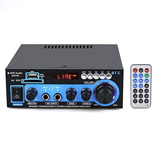 Mini amplificador de potencia de audio BT Receptor de audio digital AMP USB Ranura SD Reproductor de MP3 Radio FM Pantalla LCD Entrada de micrófono dual con control remoto Canal dual 30W + 30W para