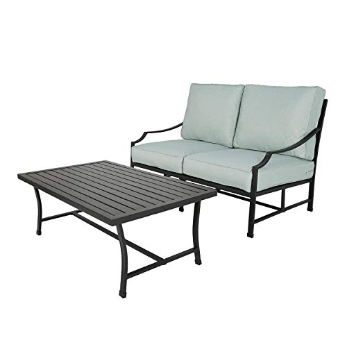 Ulax Furniture 2-Piece Outdoor Patio Love-seat with Coffee Table, All- Weather Cushions and Table (Mist)
