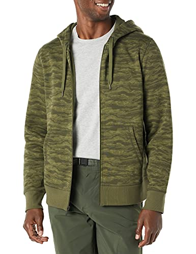 Amazon Essentials Big & Tall Full-Zip Hooded Fleece Sweatshirt Sudadera con Capucha, Camuflaje Verde Abstracto, XS
