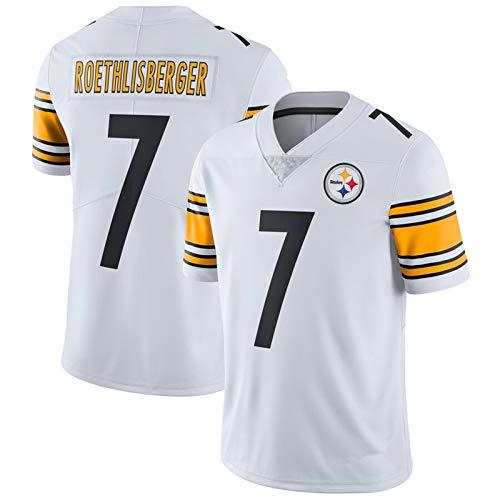 American Football Trikots Ben Roethlisberger 7#, Pittsburgh Steelers Rugby Trikot, Sportswear Sport Top T-Shirt Fan Training Shirt Trikot-White-M