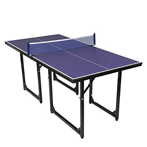 PEXMOR 6' x 3' Mid-Size Indoor Table Tennis Table, 95% Preassembled Out...