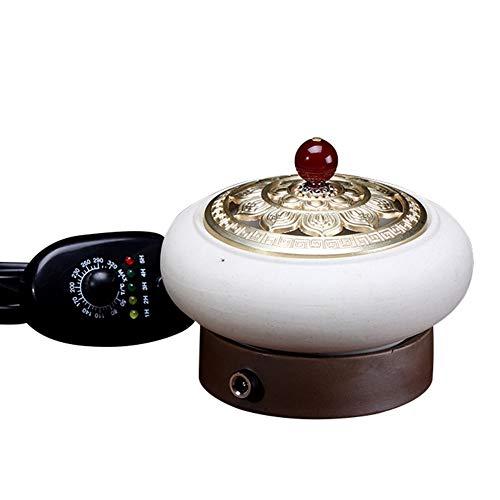 RXBFD Elektrischer Weihrauchbrenner aus Keramik, zeitlich Einstellbarer Duftdiffusor für ätherische Öle, Agarwood-Aromaofen aus Harz, Home/Office/Bar Scentsy Warmer