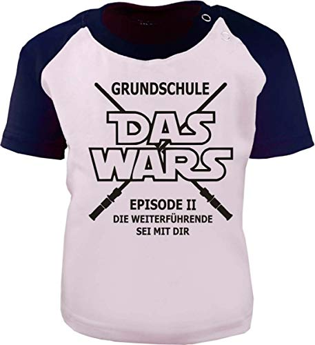 Baby/Kinder Baseball Kurzarm T-Shirt (Farbe: Weiss-Navy) (Gr. 152/164) Das Wars - Grundschule