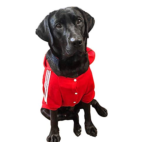 YAODHAOD Sudadera con capucha para perros grandes, color sólido, para perros grandes y medianos, talla XXL, color rojo