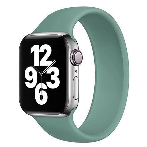 Hspcam Solo Loop correa para Apple Watch Band 44mm 40mm iwatch Band 42mm 38mm para iwatch 6/5/4/3/2/1 pulsera de silicona Accesorios (42mm-44mm, verde pino)