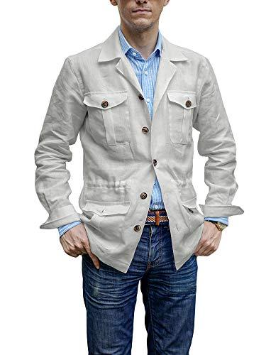 Mensleben Herren Freizeit Jacke 2+2 Tasche Outdoor Jacke Jagd Jacke aus LEINEN dünne Jacke für Frühling Sommer Herbst