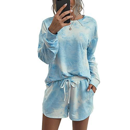 Womens Tie Dye Printed Loungewear Set Long Sleeve Tops and Shorts 4 Piece Pajamas Sets Sleepwear,Blue,Medium