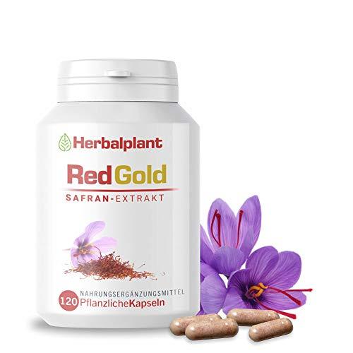 HerbalPlant RedGold Safran-Extrakt | Natürlicher Stimmungsaufheller | 100% pflanzlich & vegan | Crocin, Safranal hochdosiertert | Energie, Kraft der Natur | Laborgeprüft | 120 Kapseln für 4 Monate