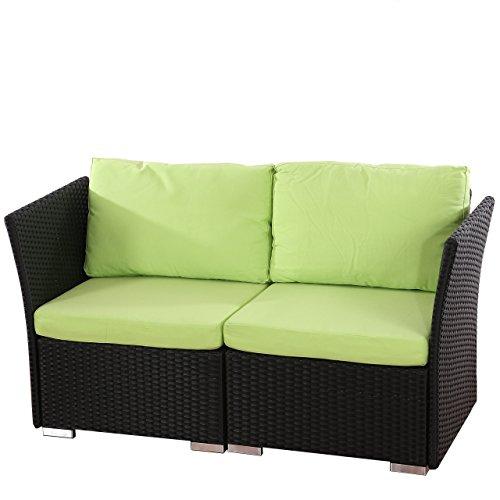 Sistema modulare Siena giardino polyrattan divano 2 posti ~ antracite-verde
