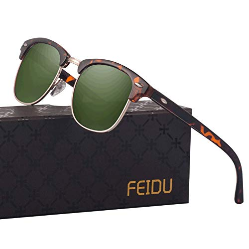 Retro Mens Sunglasses for Men - FEIDU Half Metal Polarized Sunglasses for Women FD3030 (green/leopard, 2.04)