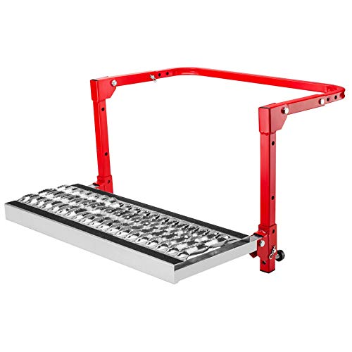 Powerbuilt Tire Step for Truck, SUV, Semi, Heavy Duty 300 lb. Capacity, Non-Slip 'Cheese Grater' Steel Surface, Adjusts to Fit Any Diameter Tire Up To 13 in. Wide, Folds Flat for Storage – 647596E