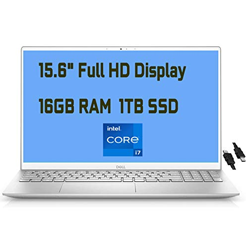 "2021 Flagship Dell Inspiron 15 5000 Laptop 15.6"" FHD Display 11th Gen Intel Quad-Core i7-1165G7 16GB RAM 1TB SSD Backlit Keyboard USB-C HDMI MaxxAudio Win10 + iCarp HDMI Cable"