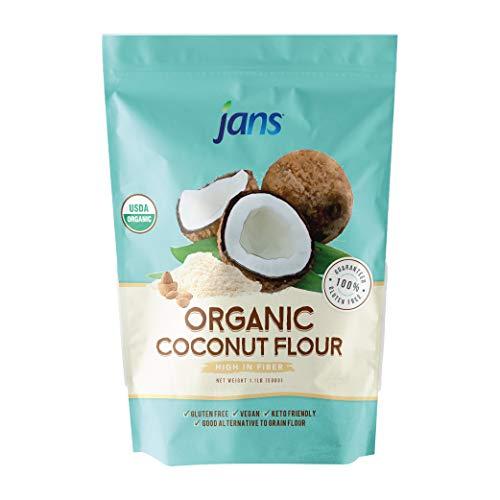 Jans Organic Coconut Flour 1.1lb | Gluten-Free | Certified Organic | Keto, Paleo, & Vegan Friendly (1 Pack)
