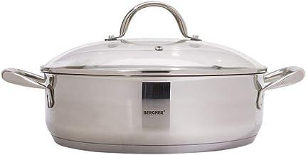 Bergner BG9845 Gourmet Shallow Pot with Lid, 28 cm, Stainless Steel