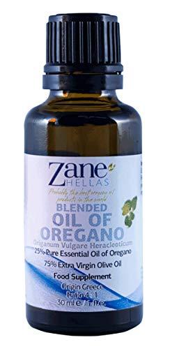 Zane Hellas 25% Aceite de Orégano. Aceite esencial de orégano griego puro.86% Min Carvacrol. 33mg de Carvacrol por porción. Probablemente el mejor aceite de orégano del mundo. 1fl.oz - 30 ml
