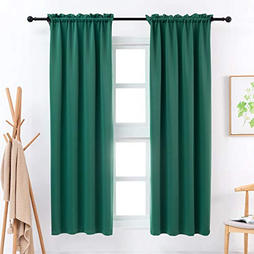 Anjee Blackout Curtains for Bedroom 45 Inches Emerald Green Curtain Kids Room Darkening Kitchen Window Drapes Thermal Insulated Drapery 2 Panels Home Decor Gifts,Emerald 38x45 Inches