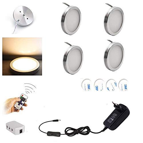 AIBOO LED Schrankleuchten 4er Komplettset, Unter Kabinett Beleuchtung mit Fernbedienung, Küchenlampen Vitrinenbeleuchtung Warmweiß 2700K, LED Unterbauleuchte Set Inklusiv alle Zubehör