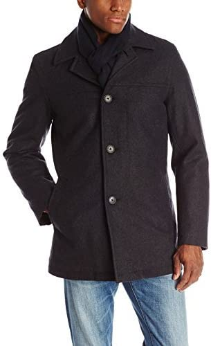 Tommy Hilfiger Men's Wool Melton Walking Coat with Detachable Scarf