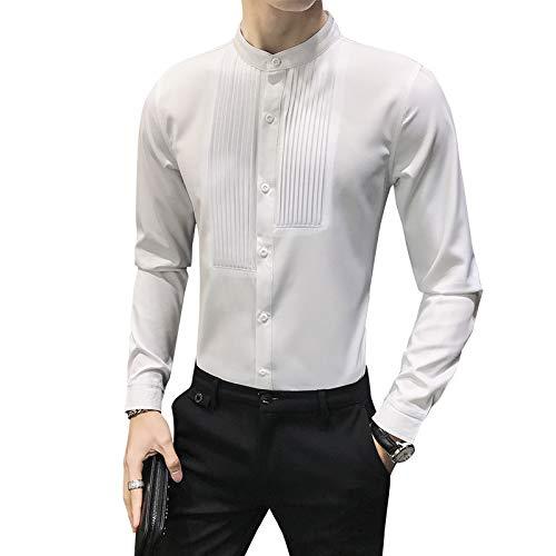 Camisa de Vestir de Manga Larga con Cuello Alto de Moda para Hombres Camisas con Botones Formales de Negocios Informales y Ajustados sólidos S