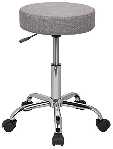 SixBros. Sitzhocker höhenverstellbar, Drehhocker mit Rollen, Hocker aus Stoff, verstellbar, grau M-95027-3/2341