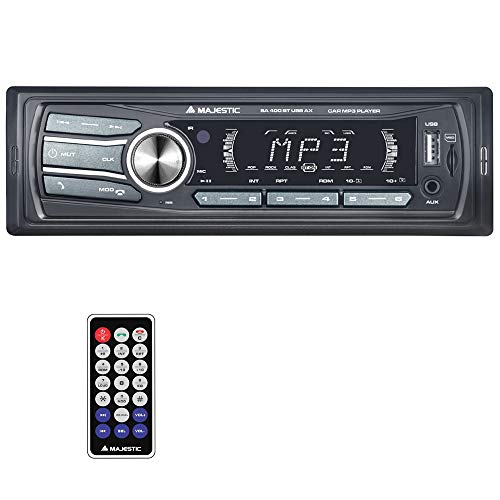 Majestic SA 400 BT USB AX - Sistema Audio Car con Bluetooth, Lettore MP3/WMA da USB/Micro SD, Telecomando, 100W (25W x 4ch), Nero