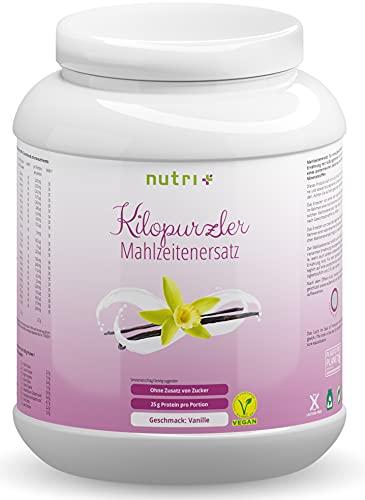 DIÄTPULVER Vanille - 20 Mahlzeiten - 1kg Pulver - Veganer Mahlzeitersatz Kilopurzler - ohne Zucker - vegan - laktosefrei - Diät Shake zum Abnehmen - Vanille-Geschmack