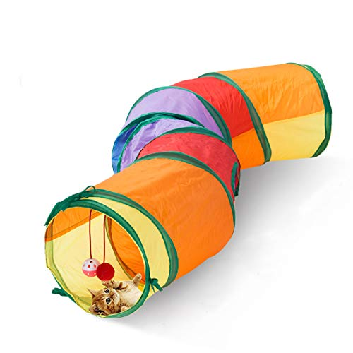 Blnboimrun Cat Tunnel with Play Ball, Interactive Peek-a-Boo Cat Chute Cat Tube Toy, Camouflage S-Tunnel for Indoor Cat