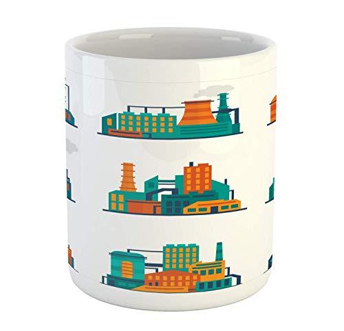 N\A Industrielle Tasse, Stadtbau Fabrikgebäude Geschäft Industrielle Pflanzen Piktogramm, Keramik Kaffeetasse Tasse für Wasser Tee Getränke, 11 Unzen, Mehrfarbig