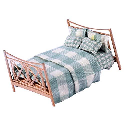 Fenteer 1:25 Mini Puppenmöbel Puppenbett Doppelbett Schlafzimmer Zubehör Set für Puppenhaus