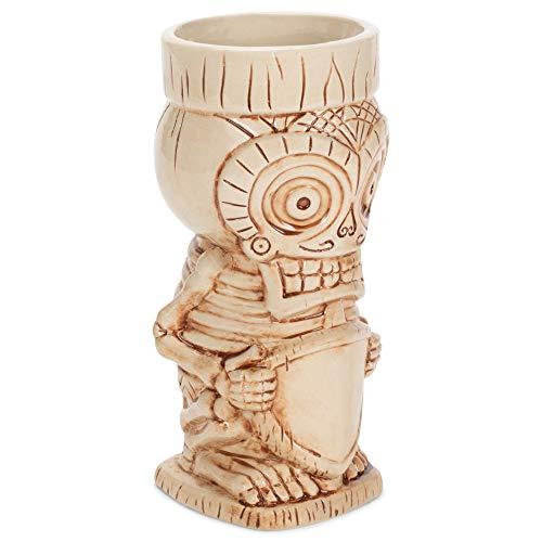 Tazza in ceramica lucida con teschio Tiki in osso polinesiano color crema, 0,75 litri