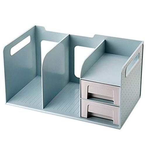 YRC Alta Capacidad Papelería Caja de Almacenamiento Multifuncional Oficina Escritorio Estudiante Escritorio Escritorio Gráficos Multi-Compartimento Estante Creativo (Color : Blue)