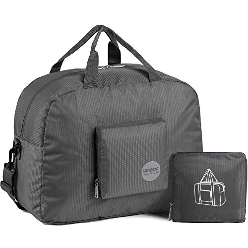 Faltbare Reisetasche 20-50L Superleichte Reisetasche für Gepäck Sport Fitness Wasserdichtes Nylon von WANDF (Grau, 20L)