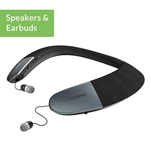 Avantree Tragbarer Kabelloser Lautsprecher, Bluetooth 5.0, aptX HD, Low Latency, Persönliches Nackenband, Lautsprecher mit einschiebbaren Ohrhörern, 3D Surround Stereo für Musik TV Anrufe – NB05