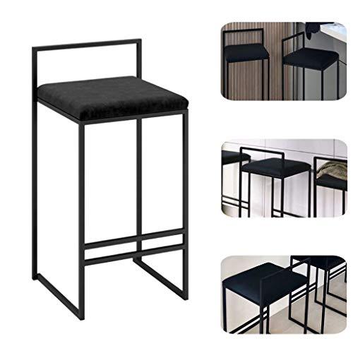 65 cm (26 ') Taburetes de bar con asiento de terciopelo cuadrado Sillas con base de metal negro, reposapiés de taburete de barra de desayuno de cocina, mostrador de bistró, altura de cafetería, mueb
