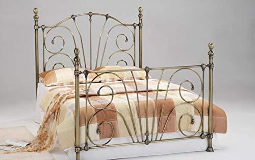 Letto matrimoniale in ottone anticato, stile vintage, struttura letto in metallo, letto king size