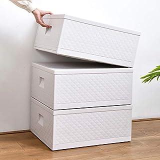 Closetique 折りたたみ収納ボックス一つ 収納 ボックス フタ付き プラスチック 超大容量55L 積み重ね 収納ケース 衣類 書類 整理ボックス 白 おしゃれ 丈夫 組み立てが簡単で 堅固である 耐久性があり (1 Pack)
