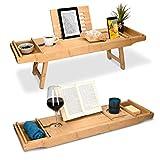 Navaris Bandeja Plegable para Cama - Mesa de bambú para bañera y sofá con Patas - Bandeja con Soporte para Poner Varios Objetos - Mesilla Auxiliar