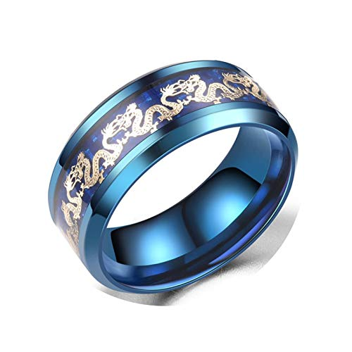 KnBoB Ringe Doppel Drachen Muster Gold Blau HerrenRinge Gr.67 (21.3) Edelstahl Ringe