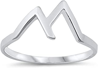Polished Simple Peaks Mountain Range Triangle Ring New .925 Sterling Silver Band Sizes 4-10