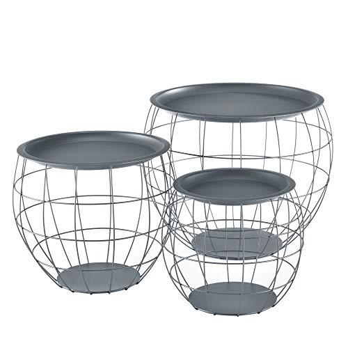 [en.casa] Beistelltisch 3er Set Couchtisch in 3 Größen Metallkörbe Sofatisch aus Metall Kaffetisch mit abnehmbaren Metalldeckeln Tablettisch Wohnzimmertisch mit Stauraum Grau