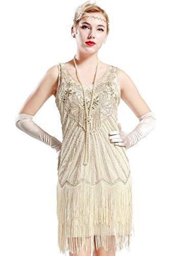 BABEYOND Sukienka damska z dekoltem w kształcie litery V, bez rękawów, dwie warstwy, z frędzlami, sukienka z cekinami, w stylu lat 20. XX wieku, Wielki Gatsby, sukienka koktajlowa, na imprezę, karnawał, sukienka (beżowa, XXL)