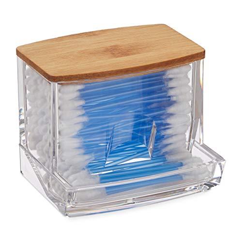 Relaxdays Wattestäbchen Aufbewahrung, Acryl, Bambus, Box mit Deckel, kleiner Ohrstäbchen Spender Bad, transparent/natur