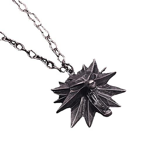 FHK Witcher3 - Collar con colgante de cabeza de lobo Witcher, con el logotipo de Geralt Lobo blanco,...