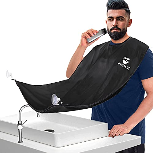 Beard Bib Beard Apron - Beard Hair Catcher for Men Shaving & Trimming, Non-Stick Beard Cape Grooming Cloth, Waterproof, with 4 Suction Cups, Best Gifts for Men - Black